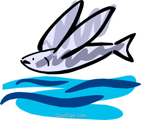 Flying fish Royalty Free Vector Clip Art illustration anim1268