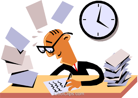 Businessman working at his desk Royalty Free Vector Clip Art illustration cart1381