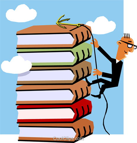 Man climbing stack of books Royalty Free Vector Clip Art illustration cart1403