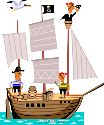 Pirate ship Royalty Free Vector Clip Art illustration cart1405