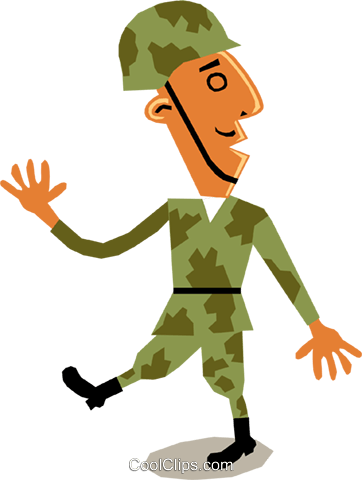 Soldier marching Royalty Free Vector Clip Art illustration cart1413