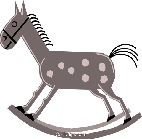Cartoon rocking horses Royalty Free Vector Clip Art illustration hous0826