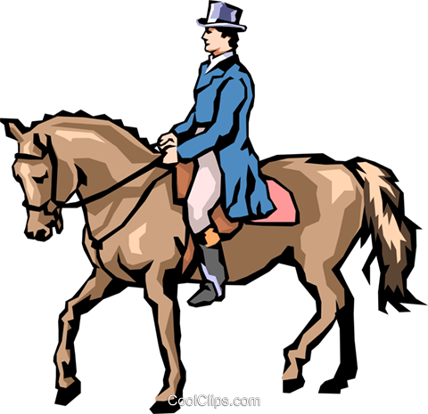 Man on horseback Royalty Free Vector Clip Art illustration peop1622