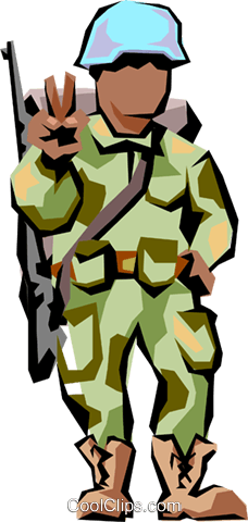 Soldier giving peace sign Royalty Free Vector Clip Art illustration peop1643