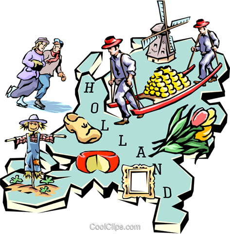 Holland map Royalty Free Vector Clip Art illustration worl0643