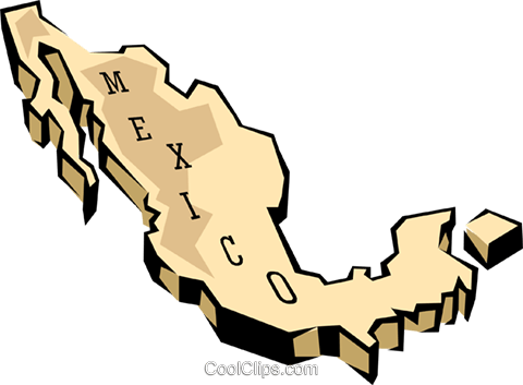 Mexico map Royalty Free Vector Clip Art illustration worl0647
