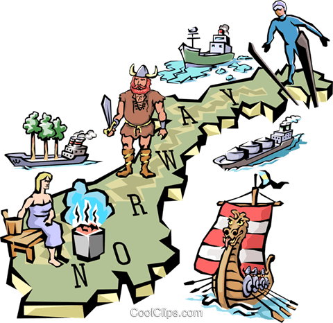 Norway map Royalty Free Vector Clip Art illustration worl0651