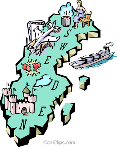 Sweden map Royalty Free Vector Clip Art illustration worl0663