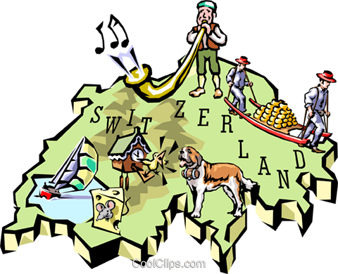 Switzerland map Royalty Free Vector Clip Art illustration worl0665