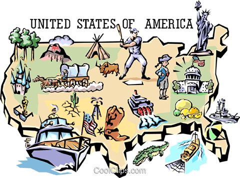 United States map Royalty Free Vector Clip Art illustration worl0667