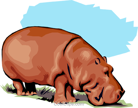 Hippopotamus Royalty Free Vector Clip Art illustration anim1303