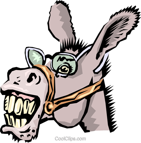 Donkeys Royalty Free Vector Clip Art illustration anim1305