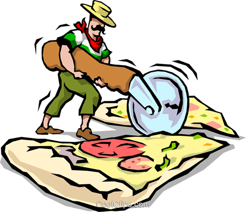 Man slicing Pizza Royalty Free Vector Clip Art illustration food0631