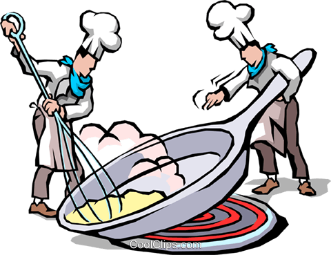 Chefs cooking eggs Royalty Free Vector Clip Art illustration food0638
