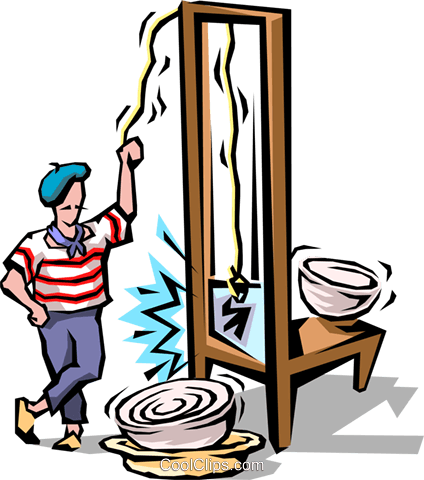 Chef with guillotine Royalty Free Vector Clip Art illustration food0656
