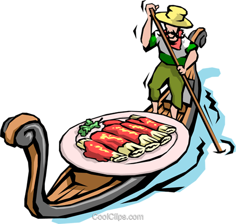 Man in gondola with pasta Royalty Free Vector Clip Art illustration food0662