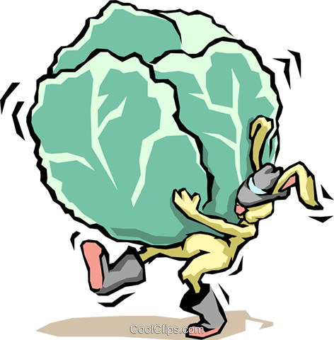 Rabbit with cabbage Royalty Free Vector Clip Art illustration food0680