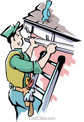 Handyman installing eaves trough Royalty Free Vector Clip Art illustration peop1664