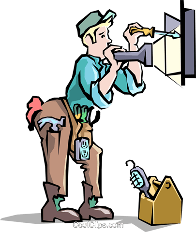 Electrician with at the panel Royalty Free Vector Clip Art illustration peop1668