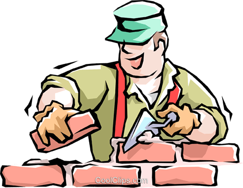 Man laying bricks Royalty Free Vector Clip Art illustration peop1675