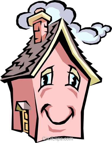 House with caricature face Royalty Free Vector Clip Art illustration arch0332