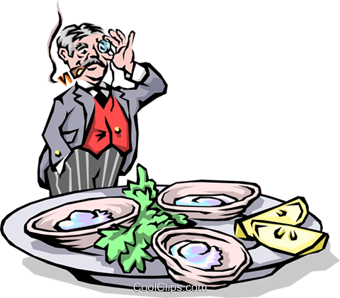 Man with tray of oysters Royalty Free Vector Clip Art illustration cart1464