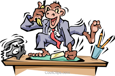 Monkey business Royalty Free Vector Clip Art illustration cart1470