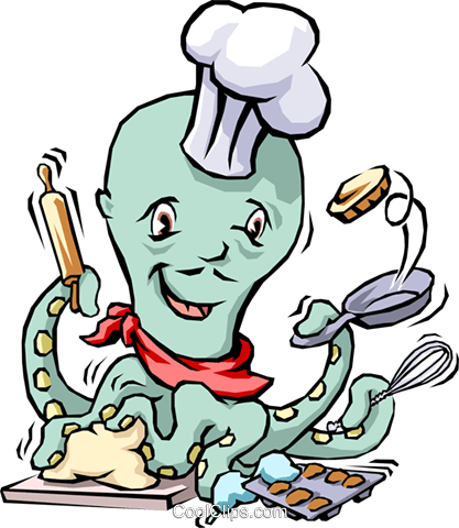 Octopus chef Royalty Free Vector Clip Art illustration cart1498