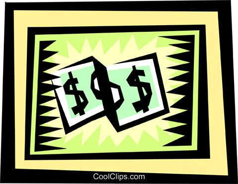 Dollar bills Royalty Free Vector Clip Art illustration busi0835