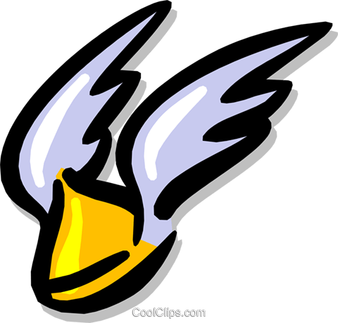 helmet, wings Royalty Free Vector Clip Art illustration hous0845