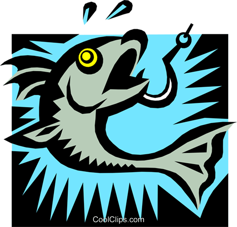 hooked fish Royalty Free Vector Clip Art illustration anim1357