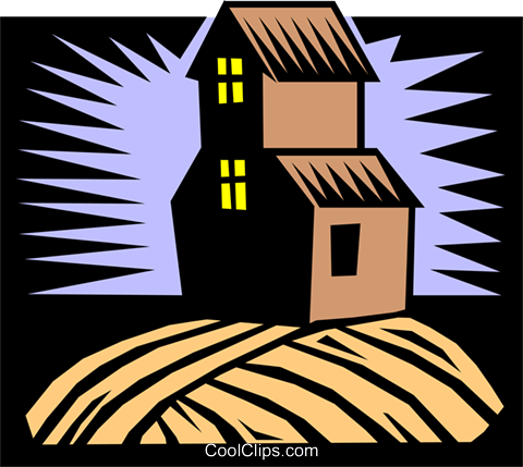 farm house Royalty Free Vector Clip Art illustration arch0343