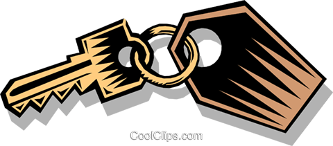 key on a key-ring Royalty Free Vector Clip Art illustration busi0880