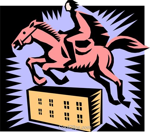 horse jumping Royalty Free Vector Clip Art illustration peop1720