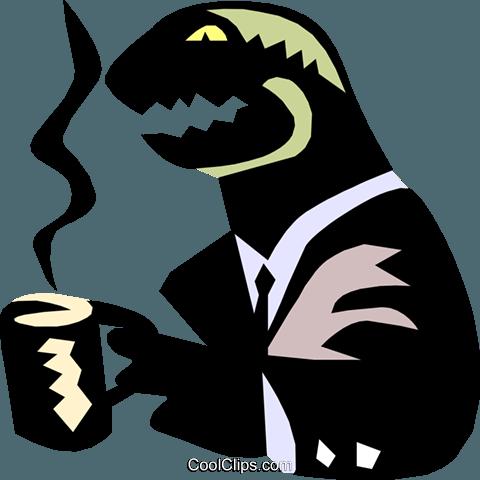Dinosaurier, Kaffee trinken Vektor Clipart Bild -anim1372 ...