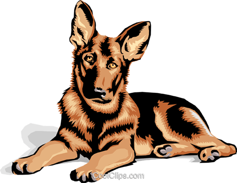German Shepard puppy Royalty Free Vector Clip Art illustration anim1377