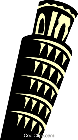 Leaning Tower of Pisa Royalty Free Vector Clip Art illustration arch0344