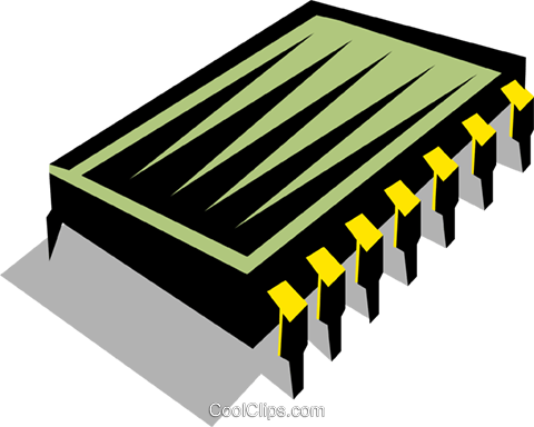computer chip Royalty Free Vector Clip Art illustration busi0911