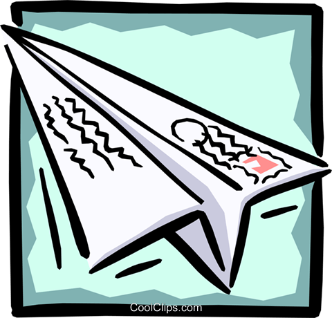 paper airplane Royalty Free Vector Clip Art illustration busi0933