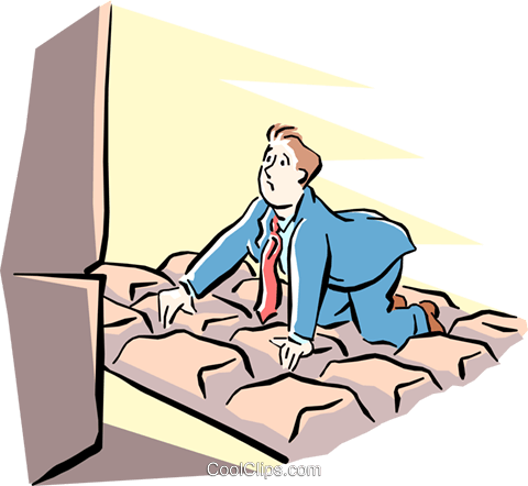 metaphor man kneeling on giant keyboard Royalty Free Vector Clip Art illustration cart1520