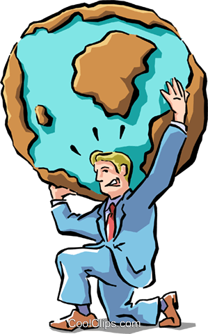 weight of the world on his shoulders Royalty Free Vector Clip Art illustration cart1521