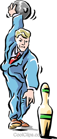 metaphor businessman bowling Royalty Free Vector Clip Art illustration cart1522