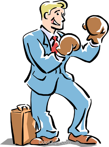 metaphor businessman boxing Royalty Free Vector Clip Art illustration cart1523