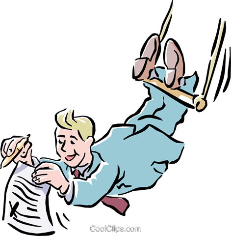 man with a contract on a high wire Royalty Free Vector Clip Art illustration cart1525