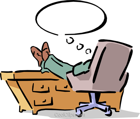man sitting at his desk with his feet up Royalty Free Vector Clip Art illustration cart1529