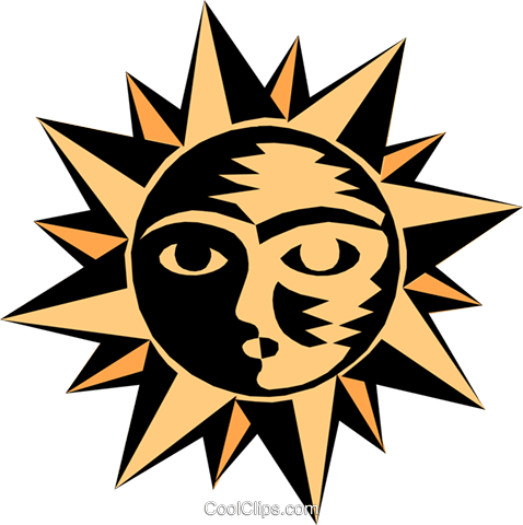 Sun face Royalty Free Vector Clip Art illustration natu0630
