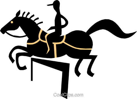 horse jumping Royalty Free Vector Clip Art illustration peop1732