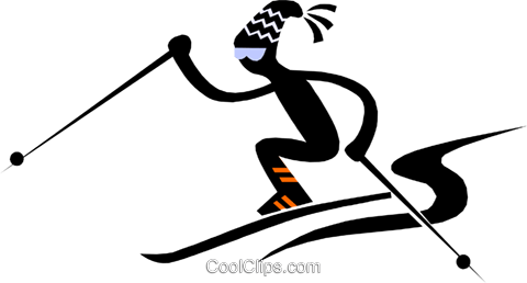 skiing Royalty Free Vector Clip Art illustration peop1733