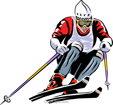 Alpine skier Royalty Free Vector Clip Art illustration peop1755