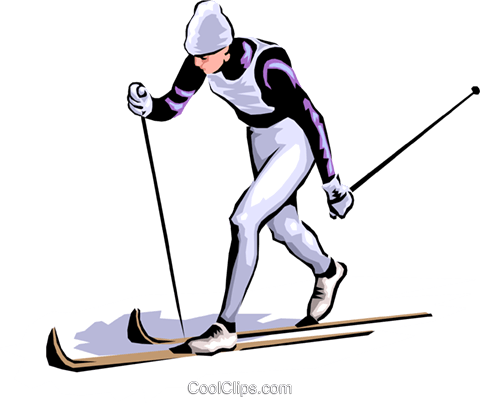 Cross-country skier Royalty Free Vector Clip Art illustration peop1757